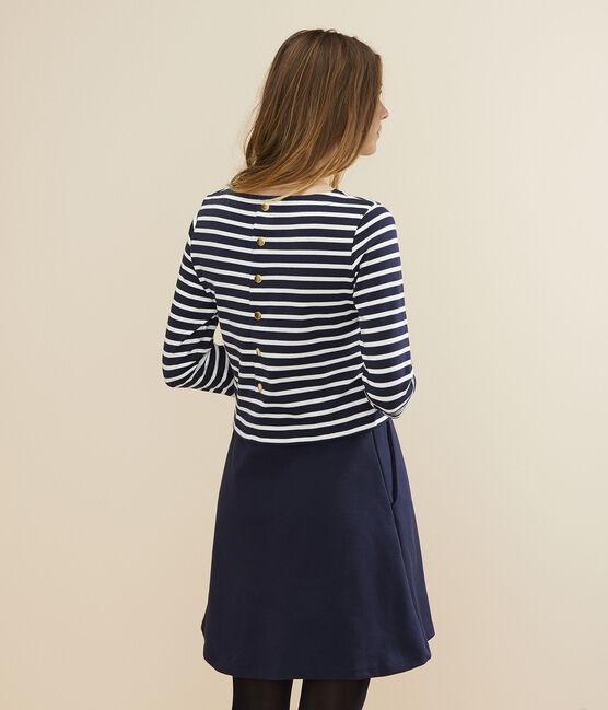 Robe marinière Femme bleu Smoking / blanc Marshmallow