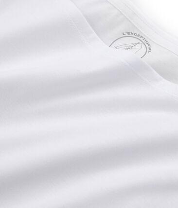 Tee-shirt manches courtes femme en coton sea island blanc Ecume