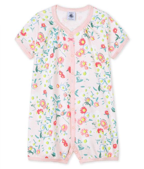 Combicourt milleraies rose bébé fille en côte blanc Marshmallow / blanc Multico