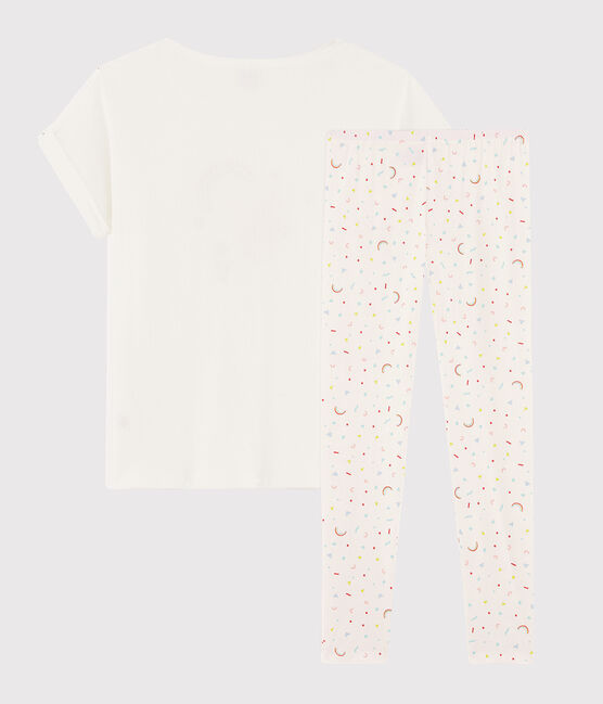 Pyjama fille / femme flamand rose en côte blanc Marshmallow / blanc Multico