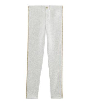 Pantalon maille enfant fille gris Beluga