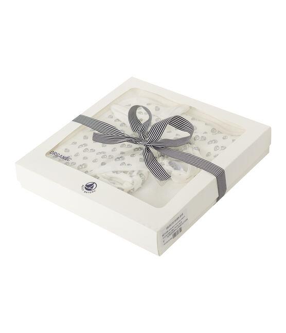 Coffret carré de bain et chaussons bébé en BE et côte blanc Marshmallow / gris Sculpture