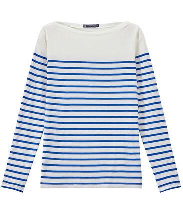 T-shirt femme manches longues à rayures blanc Marshmallow / bleu Perse