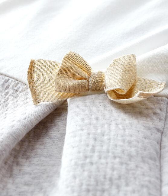 Robe manches longues bi-matière bébé fille blanc Marshmallow / gris Beluga