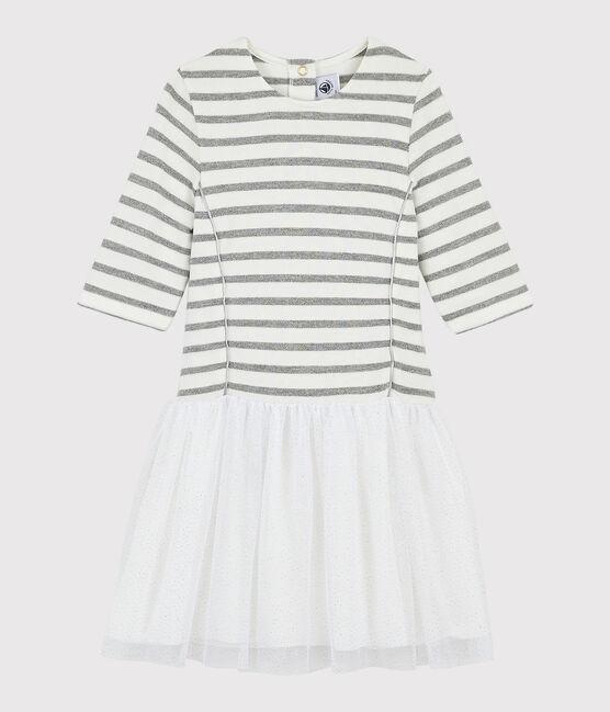 Robe manches courtes enfant fille blanc Marshmallow / gris Argent