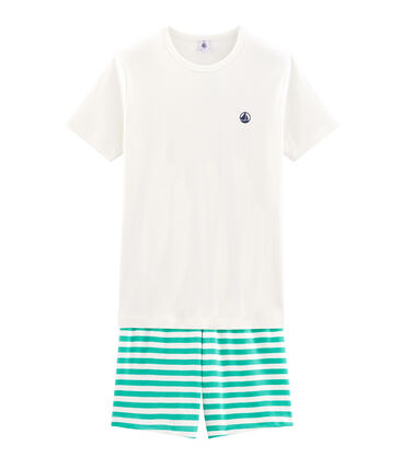 Pyjacourt garçon en côte vert Esperanza / blanc Marshmallow
