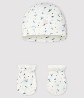 Lot bonnet naissance et moufles bébé en côte lot .