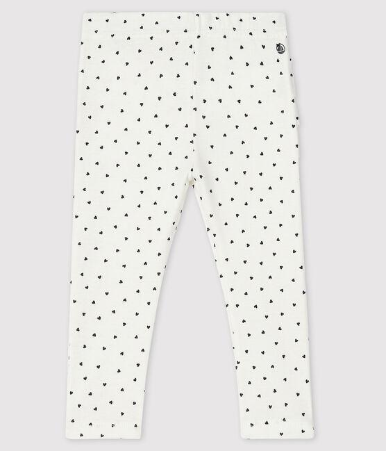 Legging imprimé bébé fille blanc Marshmallow / bleu Smoking