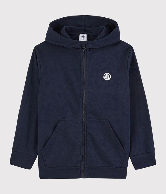 Sweatshirt zippé à capuche en coton enfant garçon bleu Smoking