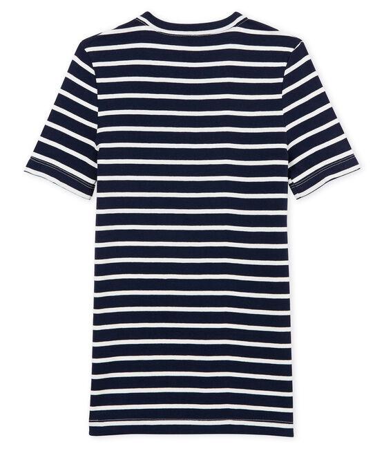 Tee shirt rayé femme manches courtes bleu Smoking / blanc Marshmallow