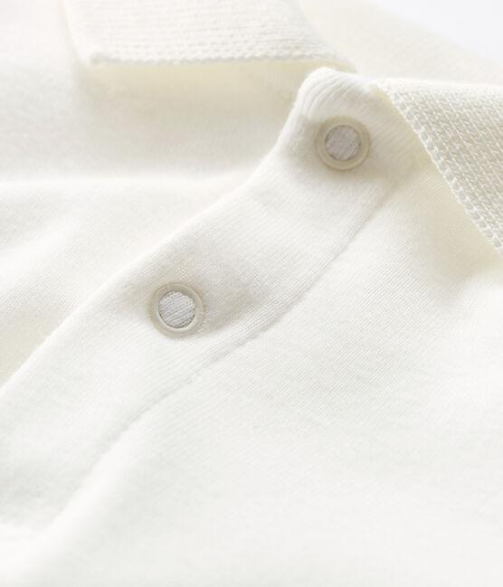 Body manches longues col polo bébé blanc Marshmallow