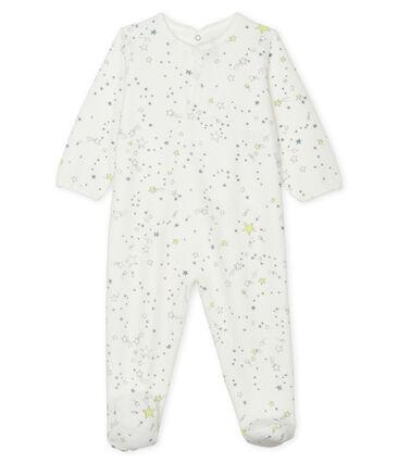 Dors bien bébé garçon en velours blanc Marshmallow / blanc Multico