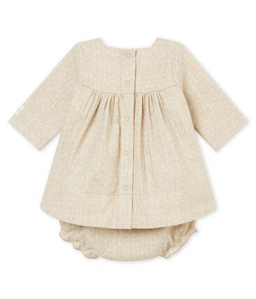 Robe et bloomer bébé fille beige Creamy Chine