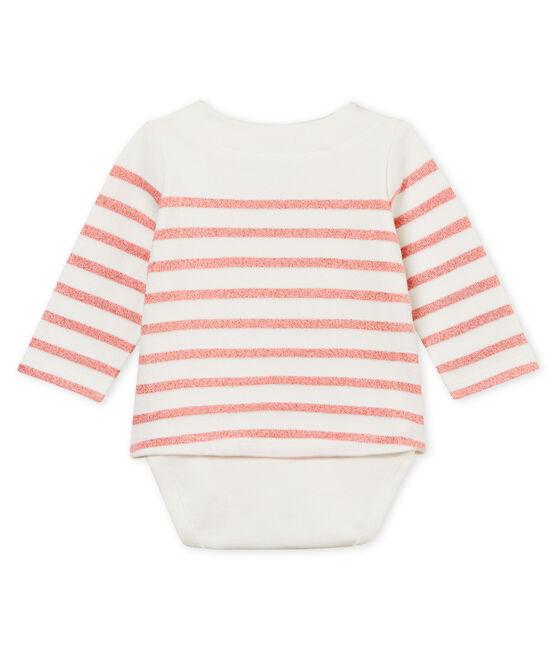 Body marinière bébé fille blanc Marshmallow / rose Joli Brillant