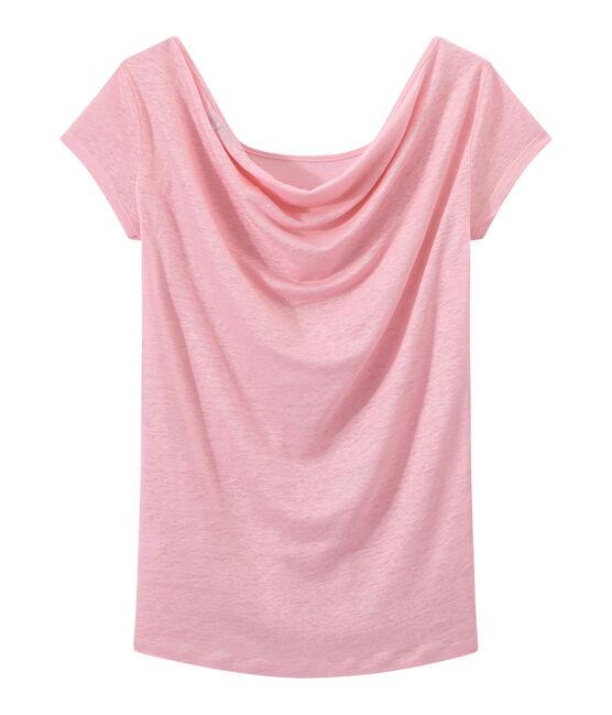 T-shirt femme col bénitier au dos en lin irisé rose Babylone / gris Argent