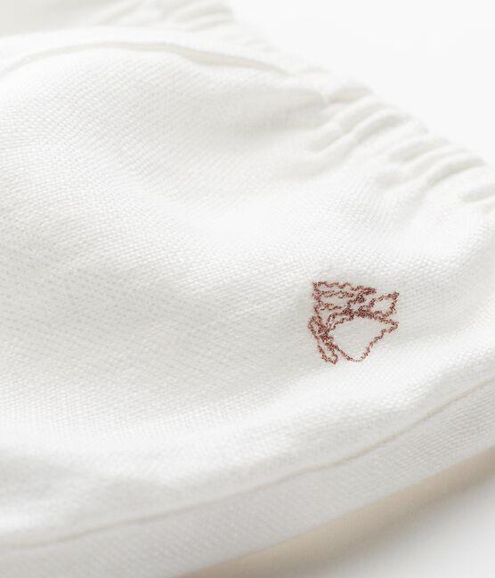 Culotte bloomer bébé fille en lin blanc Marshmallow Cn