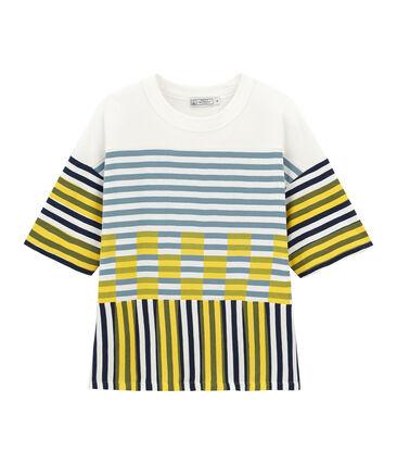 Tee-shirt graphique manches courtes mixte blanc Marshmallow / blanc Multico