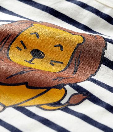 Marinière co-création bébé mixte beige Coquille / bleu Smoking