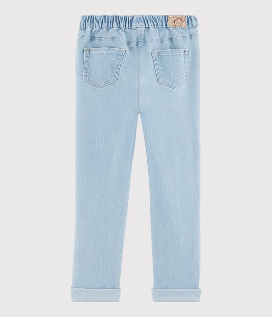 Pantalon slim en molleton denim enfant fille bleu Denim tres clair