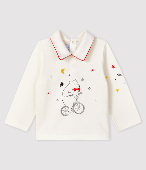 Tee-shirt avec col polo bébé garçon blanc Marshmallow
