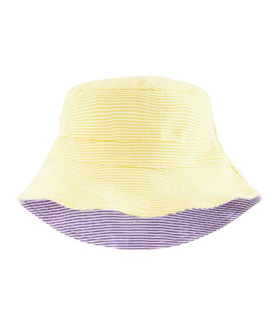 Bob réversible en côte femme blanc Marshmallow / violet Real