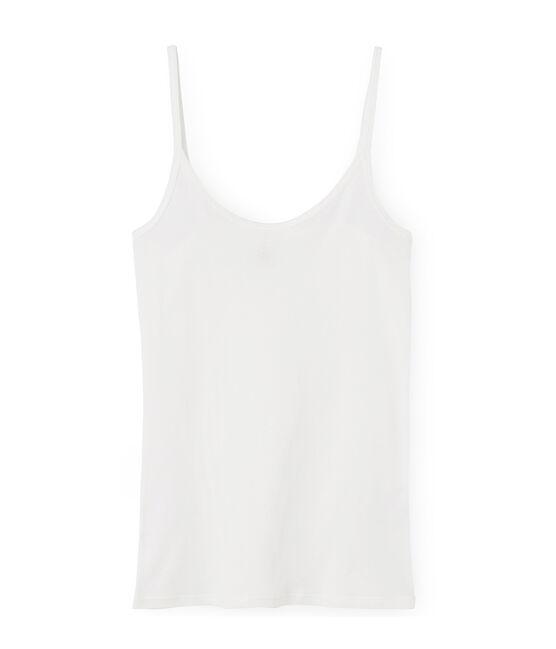 Chemise à bretelles femme en coton léger blanc Marshmallow