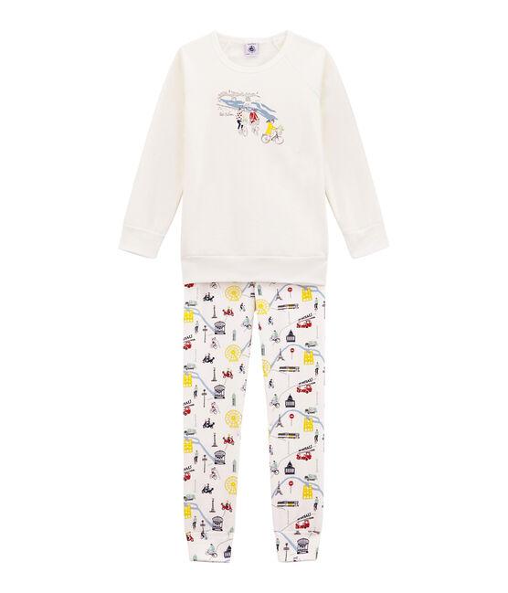 Pyjama petite fille blanc Marshmallow / blanc Multico