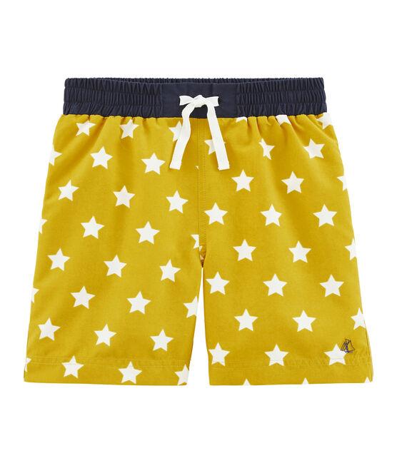 Short de plage enfant garçon jaune Bamboo / blanc Marshmallow