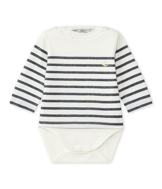 Body marinière manches longues bébé fille blanc Marshmallow / bleu Smoking
