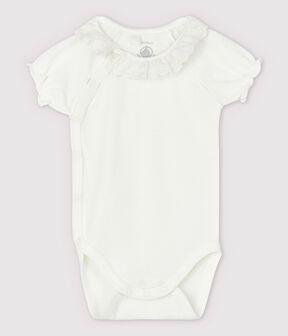 Body manches courtes à col blanc bébé fille en coton biologique blanc Marshmallow