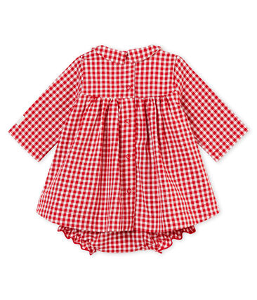 Robe manches longues et culotte bloomer vichy rouge Terkuit / blanc Marshmallow