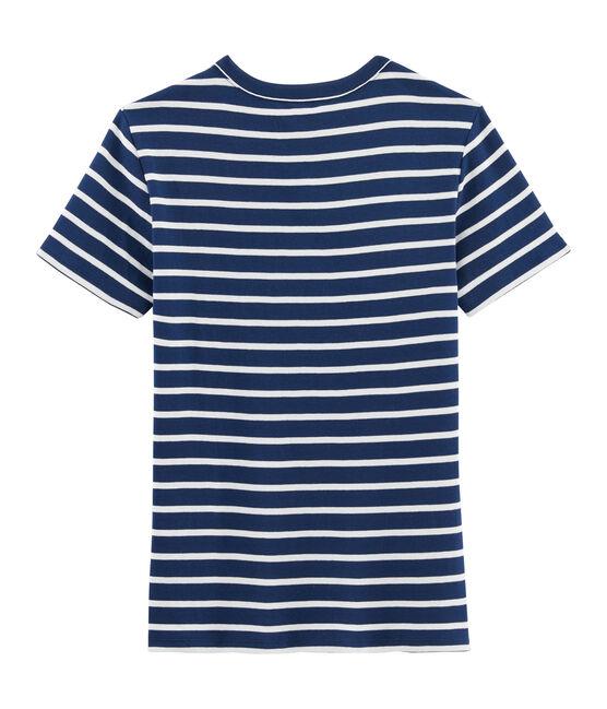 Tee shirt iconique femme bleu Medieval / blanc Marshmallow