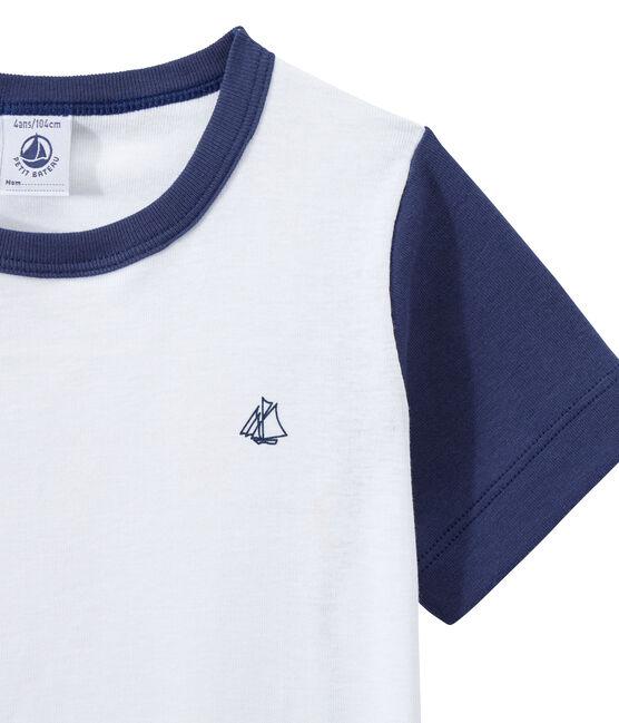 Pyjacourt garçon bicolore bleu Chaloupe / blanc Ecume