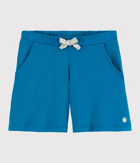 Short en coton enfant fille bleu Mykonos