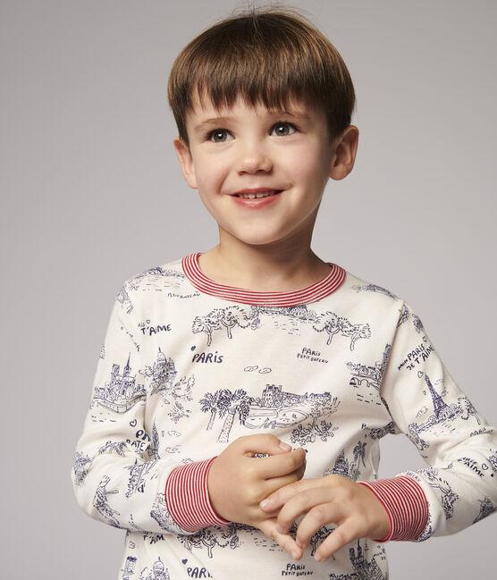Pyjama toile de Jouy Paris petit garçon en coton blanc Marshmallow / bleu Medieval