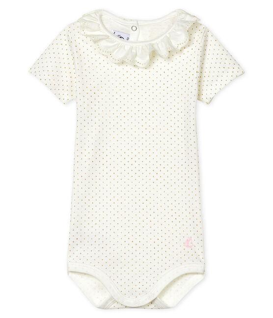 Body bébé fille à collerette blanc Marshmallow / jaune Or