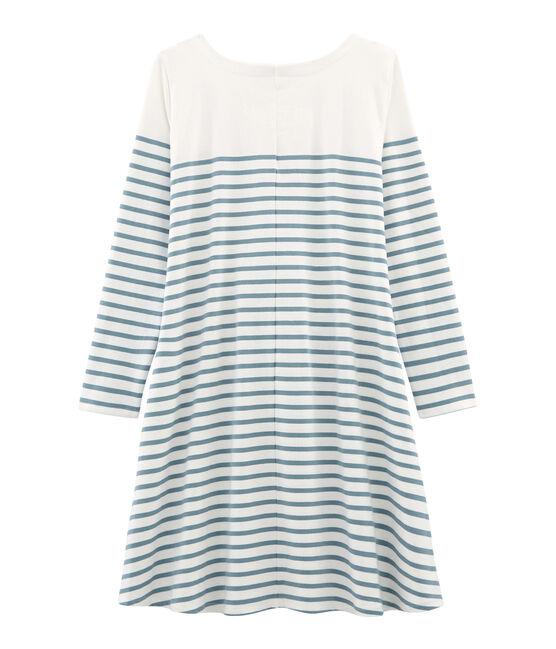Robe manches longues femme blanc Marshmallow / bleu Fontaine