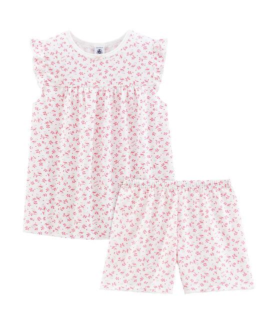 Pyjacourt petite fille en coton fin blanc Marshmallow / blanc Multico