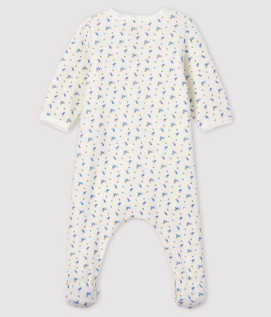 Bodyjama à imprimé fleur bébé fille en velours blanc Marshmallow / blanc Multico