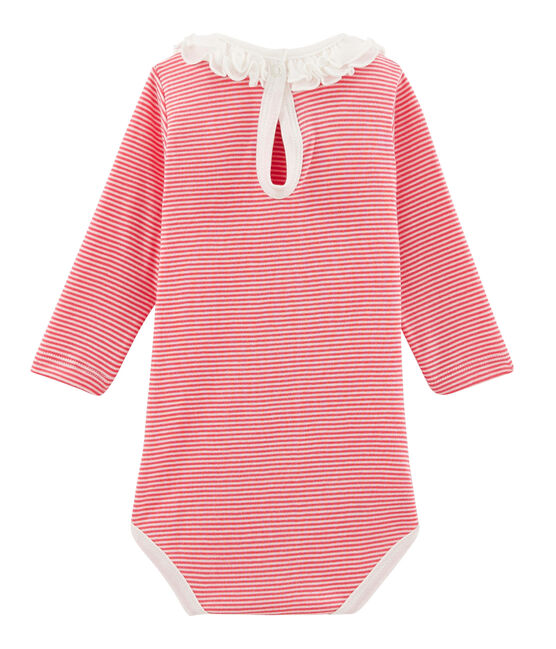 Body manches longues avec collerette bébé fille rose Petal / bleu Crystal