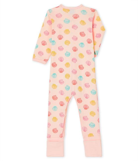 Dors bien bébé fille en côte rose Fleur / blanc Multico