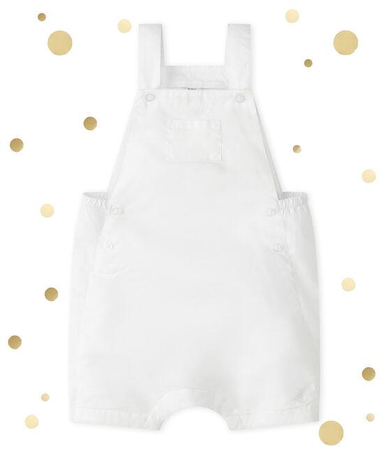 Salopette courte bébé garçon blanc Ecume