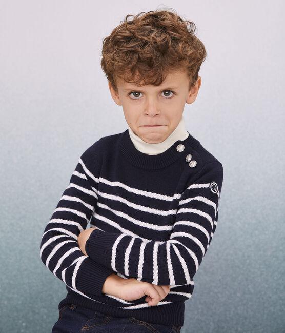 Pull laine et coton enfant fille - garçon bleu Smoking / blanc Marshmallow