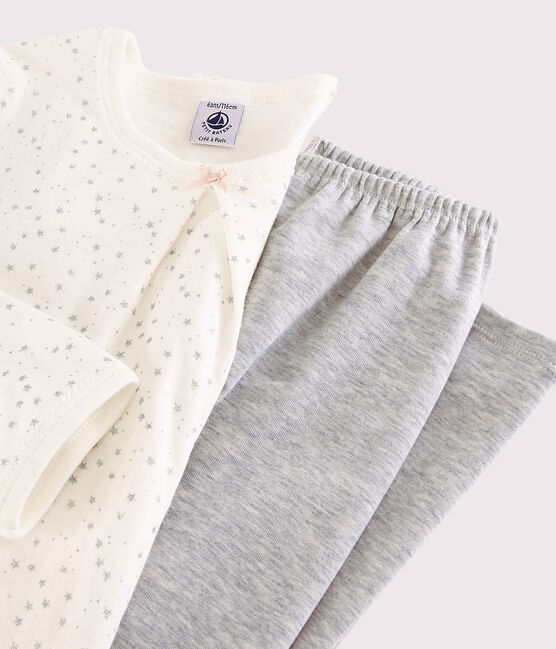 Chemise de nuit étoilée avec legging petite fille en tubique blanc Marshmallow / gris Argent