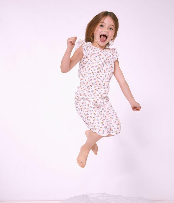 Pyjacourt petite fille en côte blanc Marshmallow / blanc Multico