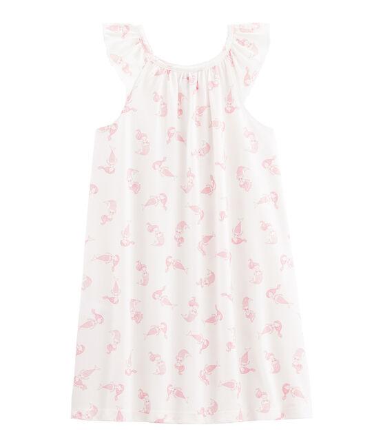 Chemise de nuit petite fille en coton fin blanc Marshmallow / rose Rose