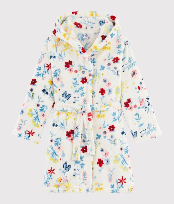 Robe de chambre à fleurs petite fille en polaire blanc Marshmallow / blanc Multico