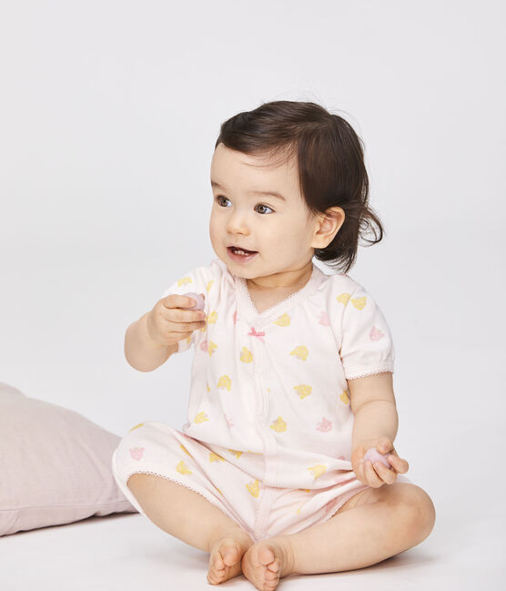 Combicourt bébé fille en côte rose Fleur / blanc Multico