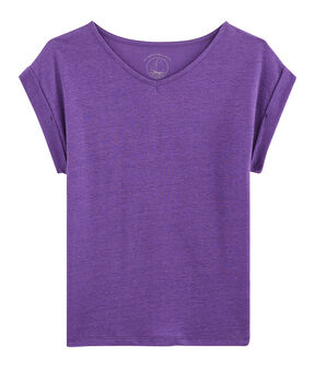 Tee shirt lin femme violet Real