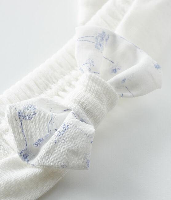 Bandeau bébé fille en côte blanc Marshmallow / blanc Multico